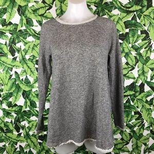 Cooperative Gray Raw Hem Sweater